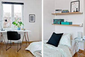 skrivbord och säng