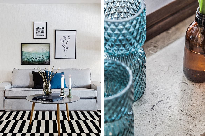 Ljuskoppar med en grå soffa