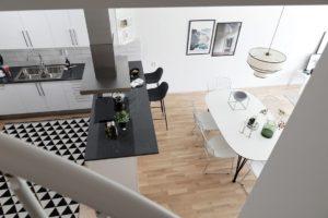 inredning etagevåning kök vardagsrum
